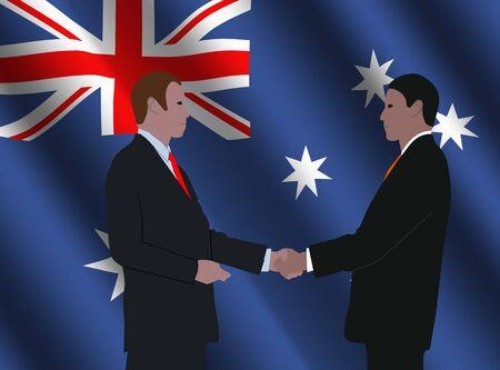 business men shaking hands with rippled Australian flag illustration Stock Illustration - 3965690