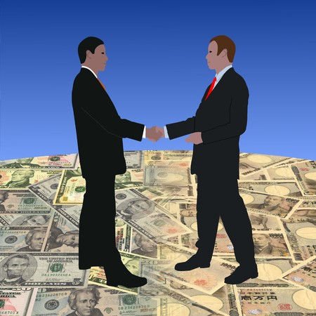 japanese currency: business men meeting on dollars and Japanese currency illustration