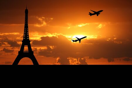departing: planes departing Paris with eiffel tower illustration Stock Photo