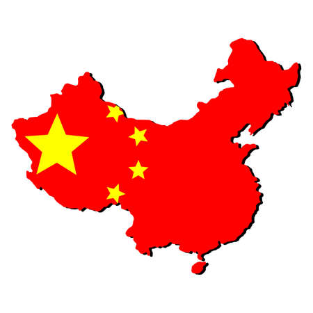 chinese flag: map of China and Chinese flag illustration Stock Photo