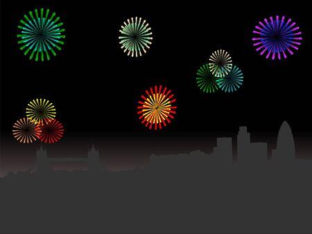 london night: London skyline at night with colourful fireworks illustration Stock Photo