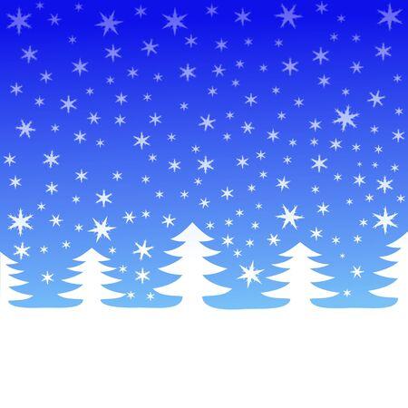 winter scenic trees with falling snow illustration Stock Illustration - 3965717