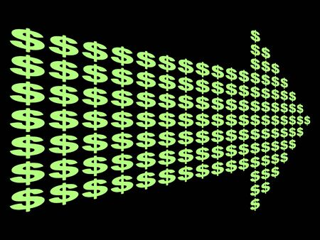 converging: dollar symbol arrow on black illustration Stock Photo