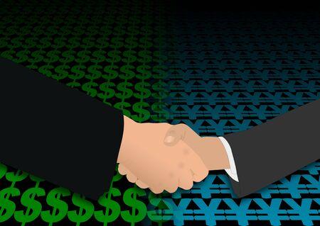 negotiator: business handshake over dollar and yen symbols illustration
