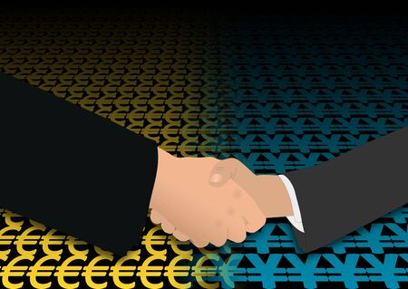 negotiator: business handshake over euro and yen symbols illustration