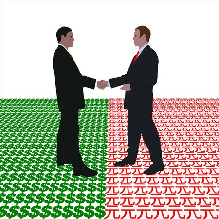 business men meeting with dollar and Yuan symbol illustration illustration