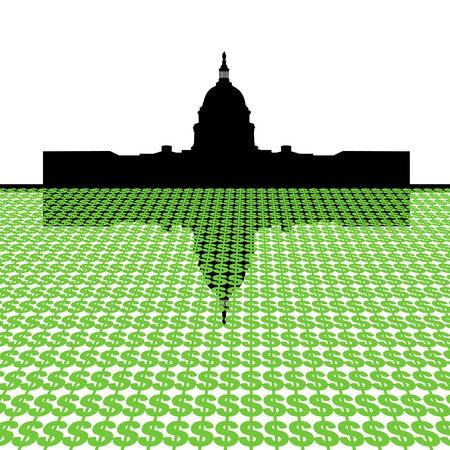 government: Capitol Building with dollar symbol foreground illustration