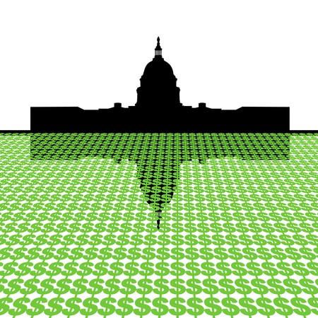 Capitol Building with dollar symbol foreground illustration Stock Illustration - 3981564