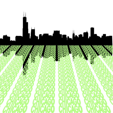 the sears tower: Chicago Skyline reflected with text illustration