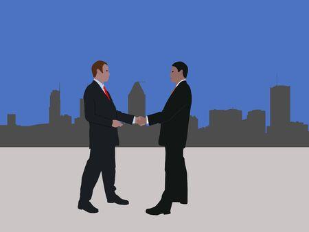 negotiator: business men meeting with handshake and Montreal skyline Stock Photo