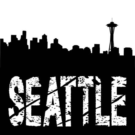 Seattle grunge text with skyline illustration