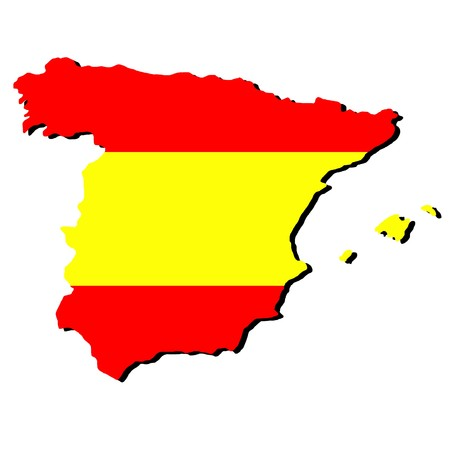 map of Spain and Spanish flag illustration