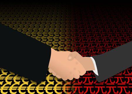 negotiator: business handshake over euro and yuan symbols illustration