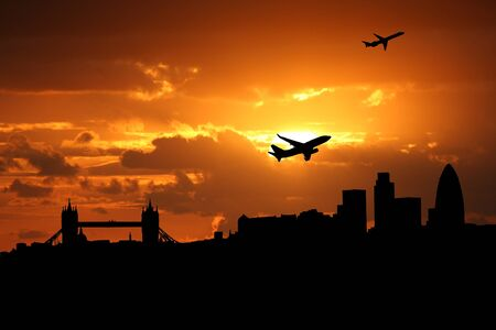 planes departing London at sunset illustration illustration