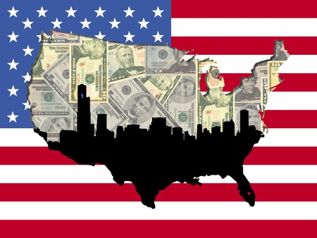 sears: Chicago skyline with American map flag and currency illustration
