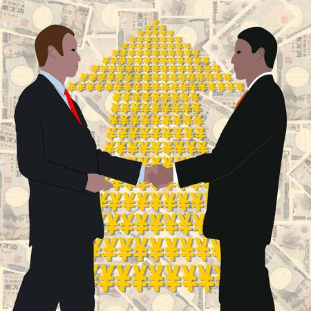business handshake with Yen arrow and Japanese currency Stock Photo - 3986784