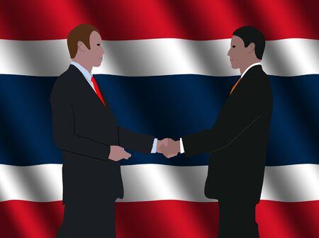 business men shaking hands with rippled Thai flag illustration illustration
