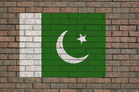brick and mortar: Pakistan flag painted on brick wall illustration