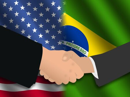 truce: Handshake over American and Brazilian flags illustration