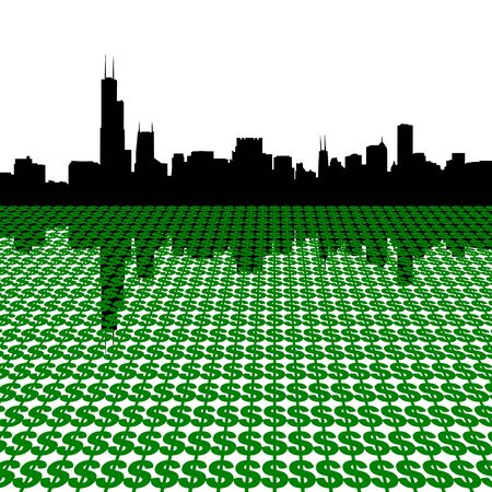 Chicago Skyline with dollars illustration illustration