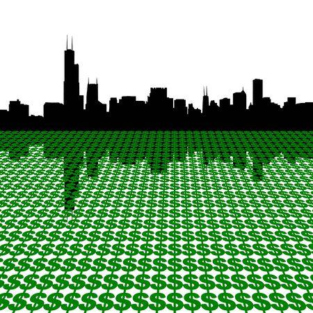 Chicago Skyline with dollars illustration illustration