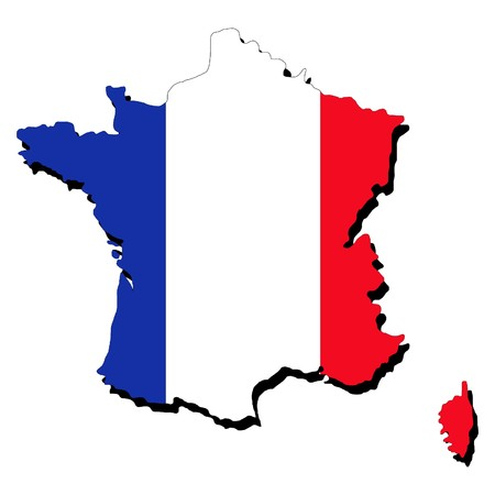 map of France and French flag illustration Stock Photo