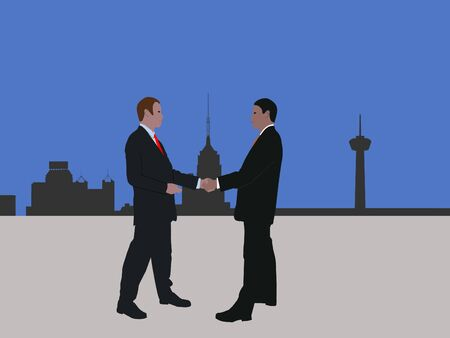 negotiator: business men meeting with handshake and San Antonio skyline