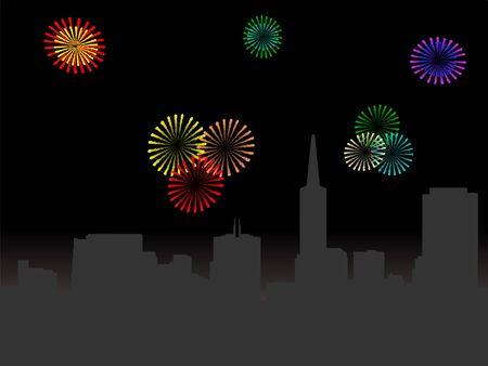 San Francisco skyline at night with fireworks illustration Stock Illustration - 3992476