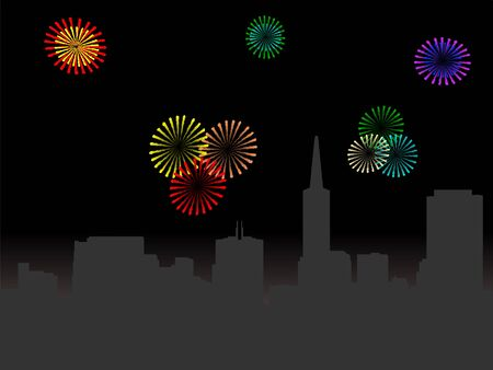 transamerica: San Francisco skyline at night with fireworks illustration Stock Photo