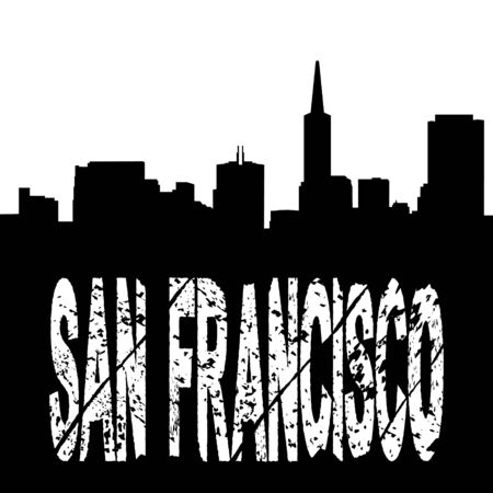 transamerica: San Francisco grunge text with skyline illustration