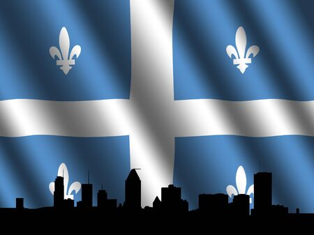 montreal: Montreal skyline with rippled Quebec flag illustration Stock Photo
