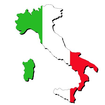 realm: map of Italy and Italian flag illustration