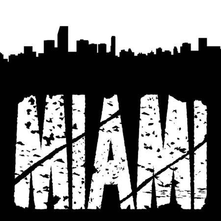 Miami grunge text with skyline illustration illustration