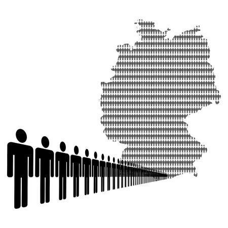 Map of Germany made of people with line of men   photo