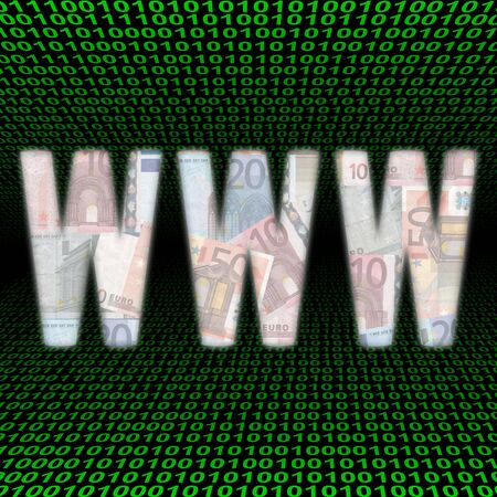 WWW text with euros over green binary code Stock Photo - 4028744