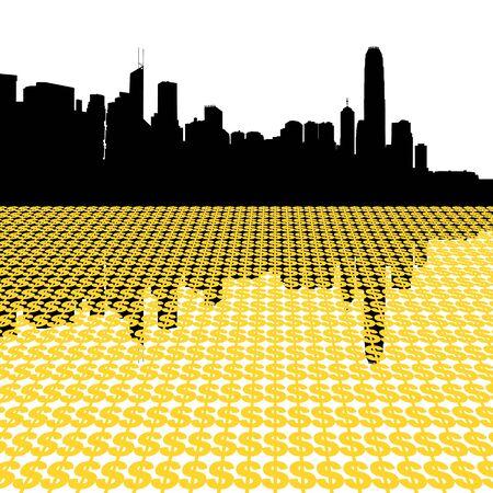 Hong Kong skyline with dollar symbols illustration