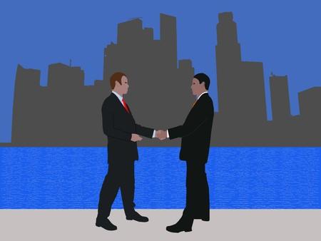 singapore skyline: business men meeting with handshake and Singapore skyline