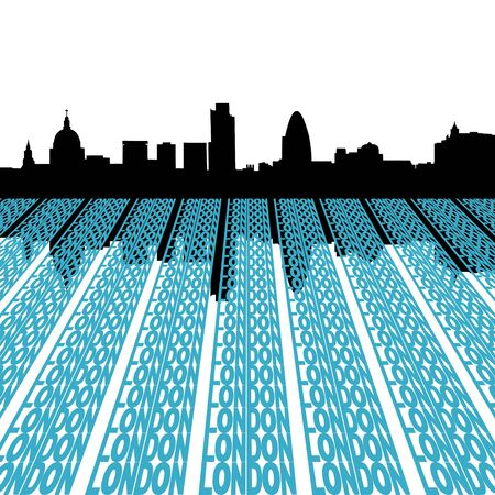 reflected: London skyline reflected with text illustration