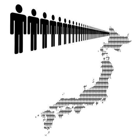 Map of Japan made of people with line of men photo