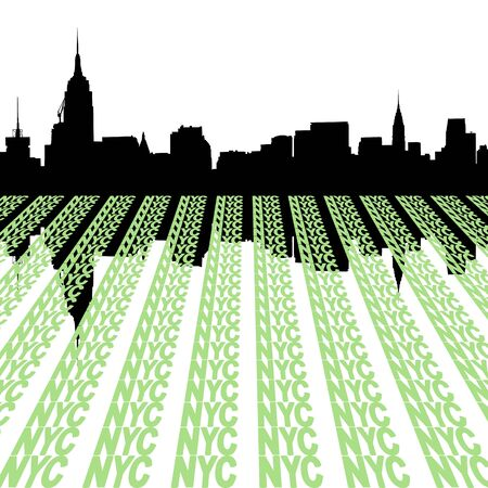 Midtown manhattan skyline with NYC foreground illustration Stock Illustration - 4050405