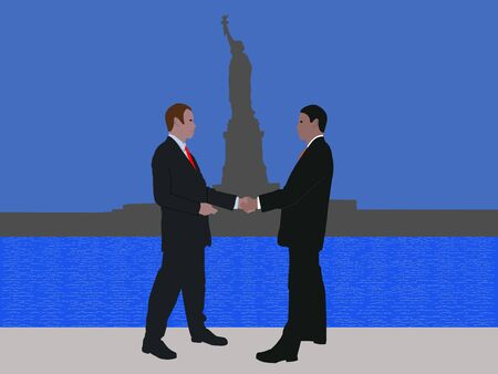 negotiator: business men meeting with handshake and Statue of Liberty Stock Photo