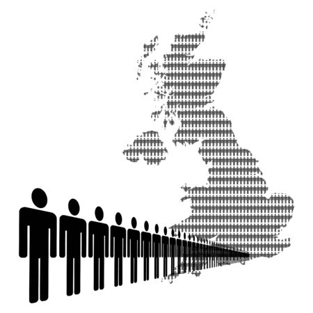 Map of UK made of people with line of men