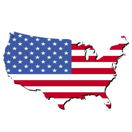 map of USA and American flag illustration illustration