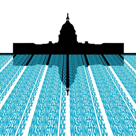 dc: Capitol Building with washington DC text foreground illustration Stock Photo