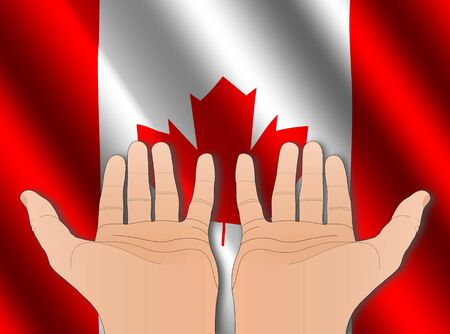 two hands with palms facing upwards with rippled Canadian flag