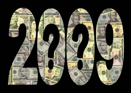 financial year: economic uncertainty 2009 with question marks and American dollars Stock Photo