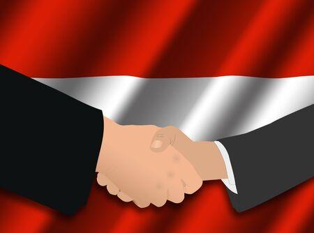 austrian: business handshake over Austrian flag illustration Stock Photo
