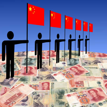 yuan: line of men holding Chinese flags on Yuan illustration Stock Photo