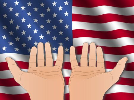 two hands with palms facing upwards with rippled American flag photo