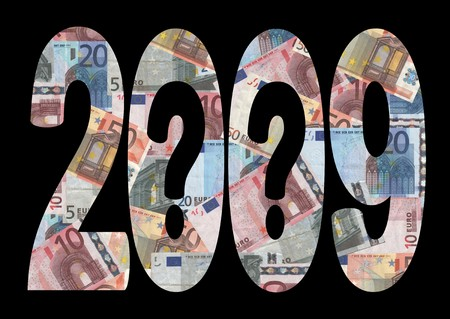 economic uncertainty 2009 with question marks and euros photo
